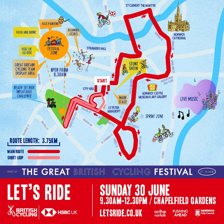 Let's Ride Norwich map